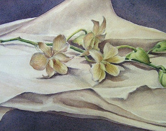 Original Watercolor - Orchids on Silk