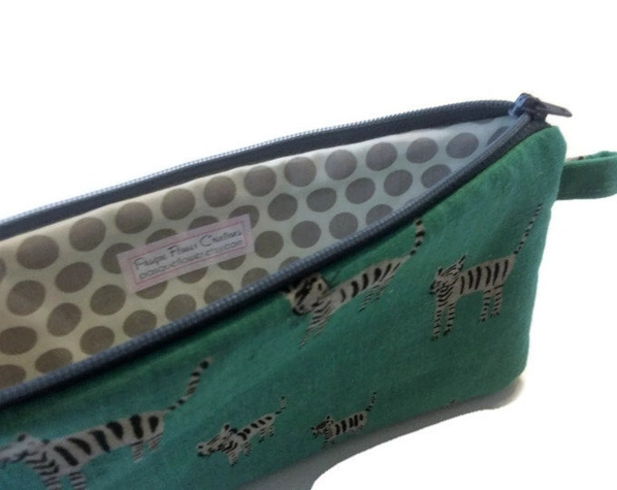 Tigers on Green Zipper Pouch - Pencil Pouch - Stocking Stuffer