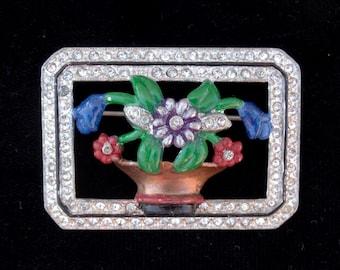 Vintage 1938CORO EnamelRhinestone Framed Flower Pot Brooch Pin RARE!