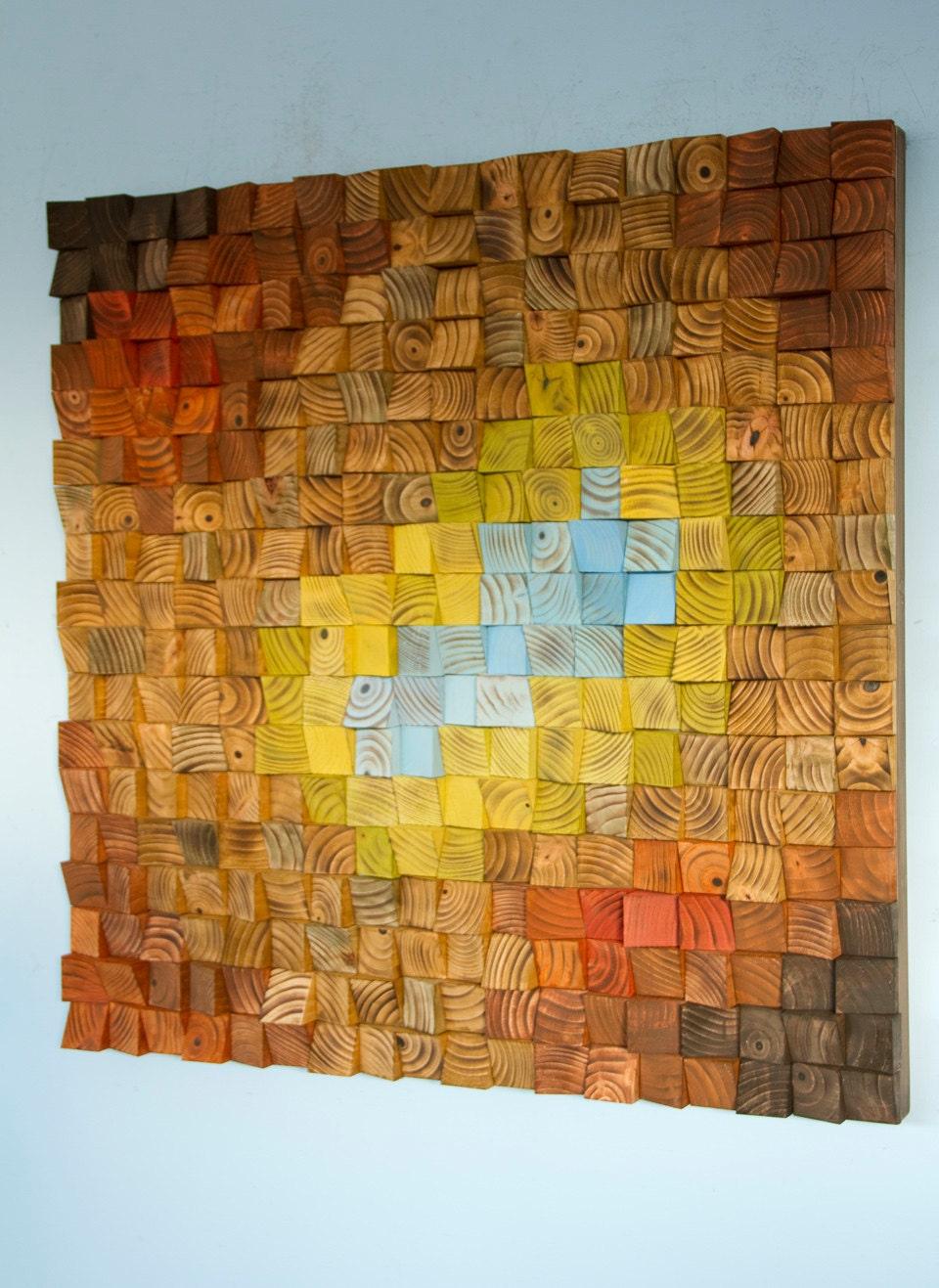 Wood Wall Art, reclaimed wood art mosaic, The Northern Lights