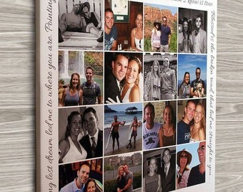 Personalized Photo Collage Canvas, Engagement Gift, Wedding Gift, Anniversary Gift, Gift for Couples, Photos on Canvas