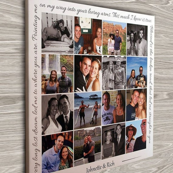 Personalized Photo Collage Canvas Engagement Gift Wedding