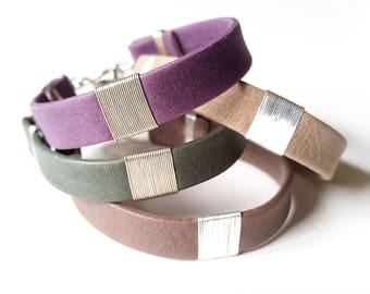 Sterling SILVER & Wide Soft LEATHER CUFF Bracelet—Gray Mauve Green Unisex Wristband [Cuir Gris Sauge Argent—Pulsera Piel Malva Salvia Plata]