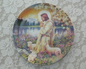 Love One Another, Garden of the Lord, Jesus with lambs and rabbit, collectible plate, Mother's Day gift