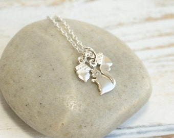 Sterling Silver Tiny Squirrel and Acorn Charm Necklace -- Choose How Many Acorns