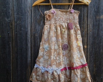 CUSTOM Example made to order ecru sweet Rustic prairie girl hand dyed layers ruffles vintage lace ruffles birthday plum rose olive dress