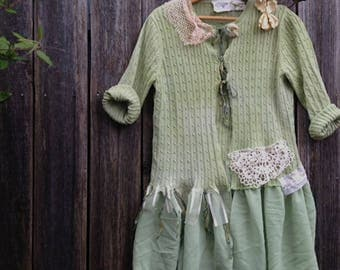 SALE summer green romantic  upcycled vintage lace linen  gypsy chic moss flowy rustic shabby boho bridesmaid wedding sweater tunic cardigan