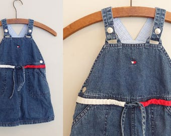 90s Tommy Hilfiger Denim Jean Overall Dress Toddler Size 3T