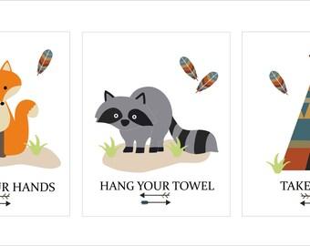 Woodland Creatures, Printable Wall Art, Fox, Teepee, Raccoon, Bathroom  Decor- File Download