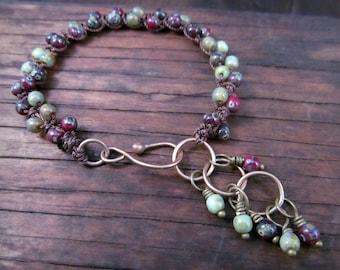 Bohemian Gyspy bracelet - Dark Earthy brown - rustic  Czech, Antique Brass hook clasp, Adjustable Crochet Jewelry