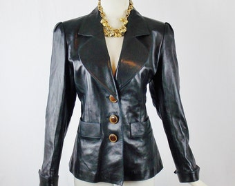 YVES SAINT LAURENT Black Leather Jacket With Cuff and Wooden Buttons Size 42