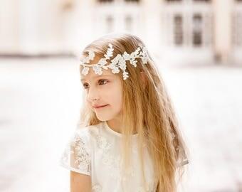 Lace Flower girl halo. Flower girls headband. Boho Wedding girls hair accessory. Flower girls head accessory. Flower girls gift.