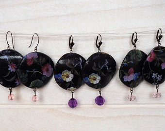 Flowers Earrings Black Earrings Paper Decoupage Earrings decoupage jewelry