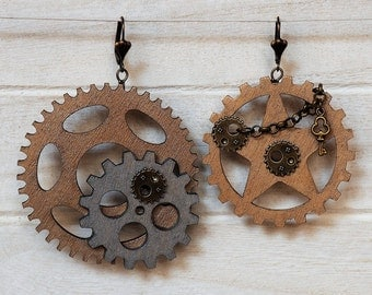 Steampunk Earrings Wood Gear Earrings Steampunk Jewelry