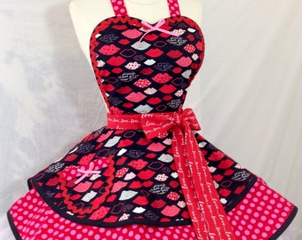 KIss Kiss PInUp Apron, Love/Retro Apron/Polka Dot Apron/Women's Apron-Ready To Ship
