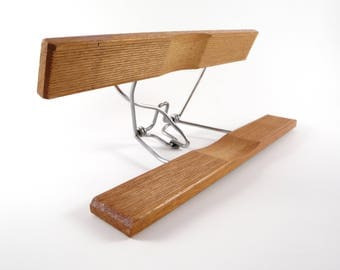 Vintage Wooden Pants Hanger Wood Clip Clamp Slacks Skirt Style Grooved Industrial Retro Minimalist Decor F