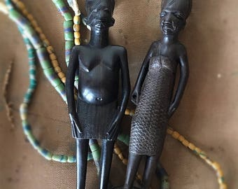 Hand Carved Ebony Wood African Couple Man Woman Child
