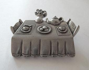 Vintage Danforth Pewterers Tea party Brooch Pin