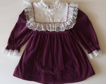 Vintage Plum Velvet Folk & Lace Trim Dress (4t)