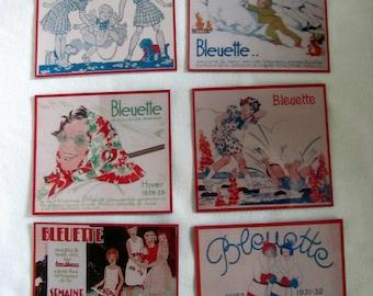 Bleuette magnets.  Doll illustration magnets. Manon Lessel, Maggie Salcedo