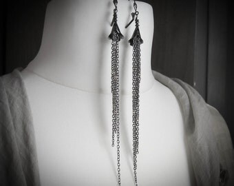 Ghost Lily Shoulder Duster Gothic Statement Earrings