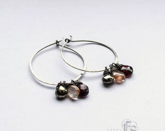 Alchemists Hoops. Pyrite, Quartz and Garnet with Sterling Silver Hoops.