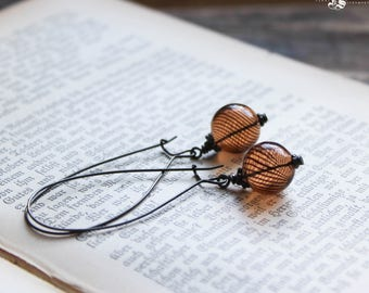 Minimalist Gothic Everyday Earrings. Mesmer's Baubles, Venetian Glass Beads. Witch Ball Earrings.
