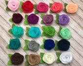 "2"" felt rosette with leaf, felt rose flowers, small felt flowers, DIY headband supplies, you pick colors, wholesale, baby headband flowers"