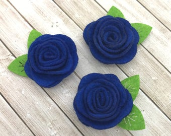 "2"" felt rosette with leaf, royal blue, felt rose flower, small felt flowers, DIY headband supplies, petite fabric flowers, wholesale flowers"