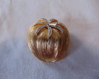 vintage corocraft signed gold tone crystal tomato brooch