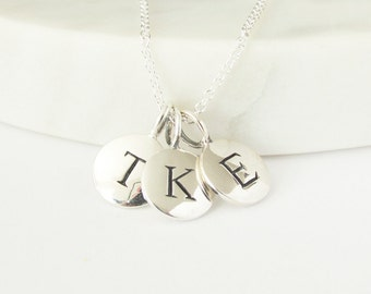 Silver 3 Initial Charm Necklace - Mom Necklace - New Baby Necklace