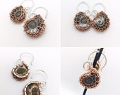 16 Gauge Silver Plated Tunnel Hoops with Woven Ammonites