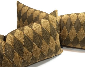 "Pillow cover set of 2 Diamond - Harlequin designer chenille and silk fabric 12"" x 24"""