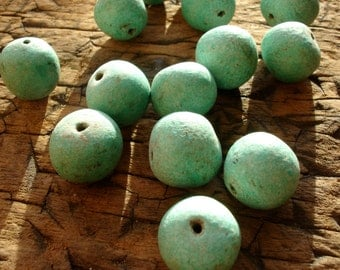 Moroccan light turquoise hand made round bead