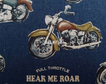 Born to be wild, dark blue, 1/2 yard, cotton linen blended fabric