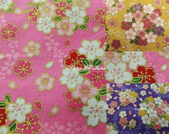Cherry blossom, gold metallic, 1/2 yard, pure cotton fabric