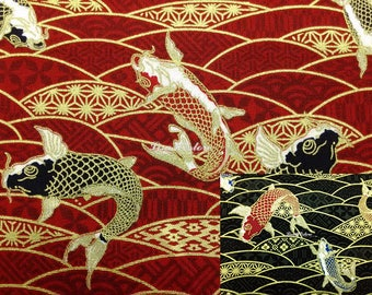 Koi fish, gold metallic, 1/2 yard, pure cotton fabric