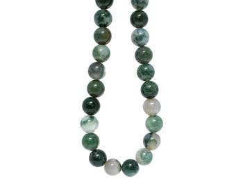 Moss Agate Round Bead Strand - 16""