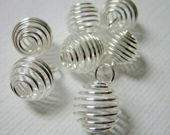 20 Silver Plated Spiral Cage Bead Findings, 12x9mm, Jewelry Supplies