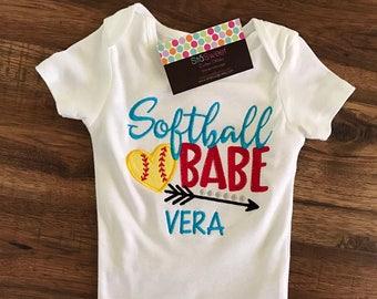 Personalized Lil Sis Girls Baseball Softball Tshirt or Onesie