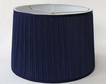 "Tapered Lamp Shade in Navy Pleated Fabric: Top 14"" Bottom 16"" Height 11"" Ready to Ship!"