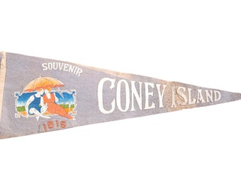 Antique 1915 Coney Island Felt Flag