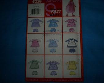 Butterick 6226 Girl's Size NB-S-M Pinafore, Dress and panties..