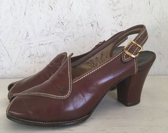 Vintage 30s 40s Sling Back Peep Toe Shoes Estimated Size 7