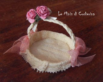 Victorian or Shabby Basket - miniature 1:12 scale for dollhouse