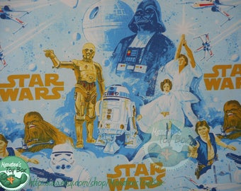Star Wars Twin Fitted Sheet: Vintage 80s Bedding Fabric Made in the USA