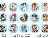 Digital Bottle Cap Images, Vintage puppy dog birthday pendant blue--1 inch One Inch Circles--Digital Collage Sheet (4 by 6 inches) 4021