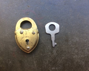 Tiny heart lock and key