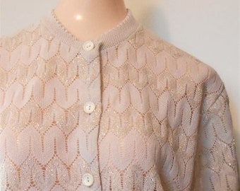 Black Friday Vintage, Sweater, Gold, Lurex, Cardigan, Size 44, Extra Large, Classic Cardigan, Mom Sweater, Gold Cardigan, Crochet Cardigan,