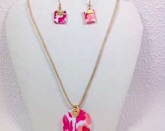 Red & Pink Fabric Necklace with Earrings Set
